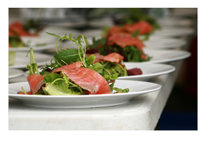Sloe gin-cured gravlax with salmon rillettes, rocket salad and keta eggs